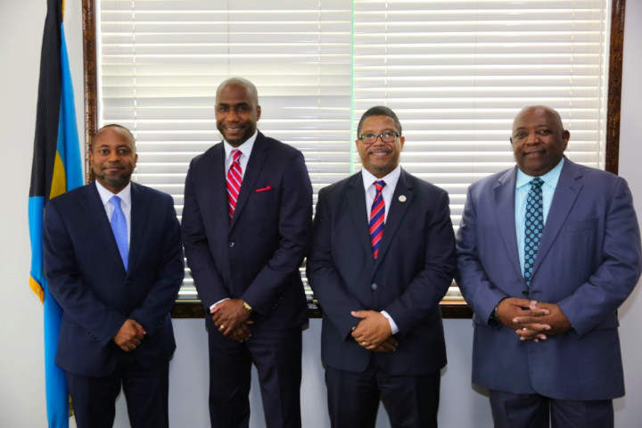 From left, Minister of State for Grand Bahama, Senator Kwasi Thompson; Mayor Felder; Deputy Prime Minister Peter Turnquest; and Harcourt Brown, the permanent secretary in the Office of the Prime Minister. (Photo credit.)