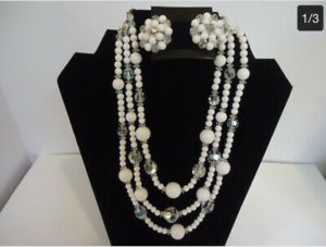WHITE BEADS, CRYSTAL BEADS